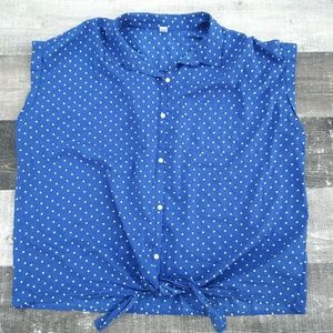 OLD NAVY 3X Plus Blue Polka Dot Tie Front Hem Top